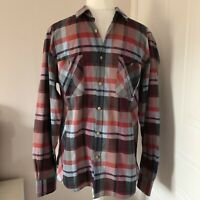 Men's Ted Baker Blue & Red Checked Long Sleeved Cotton Shirt Size 5 UK XL