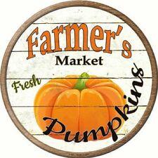 FARMERS MARKET FRESH PUMPKINS METAL NOVELTY ROUND CIRCULAR SIGN