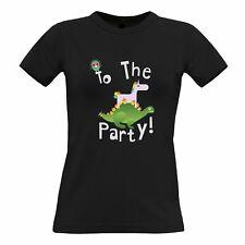 Novelty Birthday Womens TShirt To The Party Stegosaurus Slogan Dinosaur