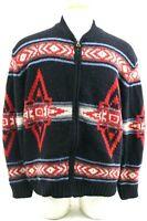 Pendleton Men's Sweater Aztec Southwestern Size Large Lambs Wool Black Red