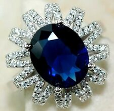 Top Quality 6CT Blue Sapphire & Topaz 925 Sterling Silver Ring Jewelry Sz 6, UC2