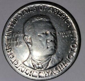 1946 Booker T. Washington Memorial Commemorative Silver 50¢ Half Dollar 90%