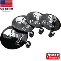 [BUNDLE] Punisher Wheel Center Hub Cap Sticker Decal & Wheel Tire Valve Caps