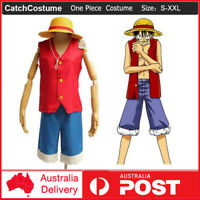 Anime ONE PIECE Monkey·D·Luffy Cosplay Costume Party Halloween Fancy Dress + Hat