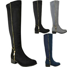 Womens Ladies Stretchy Over the Knee Boots Gold Zip Flat Low Heel Riding Shoes