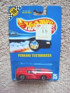 Hot Wheels Blue Card #35 Ferrari Testarossa on card 1990