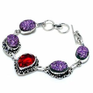 """Titanium Druzy, Garnet Gemstone Ethnic Handmade Gift Bracelet 7-8"""" I146"""