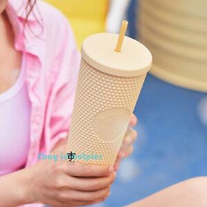 2021 China Starbucks Bright Yellow Matte Studded Straw Cup Tumbler Plastic 24oz