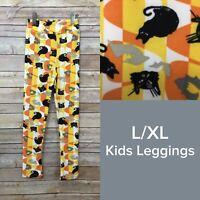 Lularoe Kids Leggings L/XL (7-12) Black Cats Bats Candy Corn Halloween NWT LLR