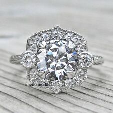 1.70 Ct Art Deco Gray Moissanite Engagement Ring 925 Sterling Silver Size 6