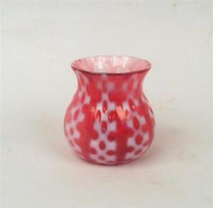RARE CRANBERRY OPALESCENT CRISS CROSS TOOTHPICK HOLDER BY CONSOLIDATED