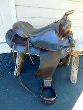 """RARE FRED HOOK WESTERN LEATHER SADDLE 17"""" HAND TOOLED CHAMPION TURF BLEVIN"""