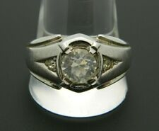 UNCAS Signed Silver Tone CZ Rhinestone Solitaire Band Ring Size 12.5 Unisex