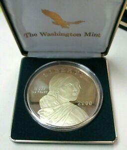 Washington Mint 2000 Sacagawea 4 oz .999 Fine Silver Gold Overlay Coin