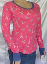Womens Nite-Nite Munki Munki Pink Paris Dog Pajama Sleep Thumb Hole Shirt size M