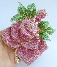 "Gorgeous 5.12"" Rose Flower Brooch Pin Pink Austrian Crystal Pendant EE02994C14"