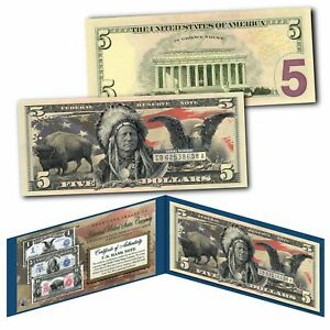 Americana Images of Historical U.S. Currency $5 Bill * BISON - INDIAN - EAGLE *