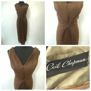 Vintage Ceil Chapman Dress size S M Brown Shirred Radiating Accordion Pleats DS5
