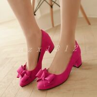 Hot Ladies Womens Bowknot Pointed Toe Party Pumps Sweet Mid Chunky Heel Shoes