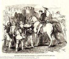 Antique print battle horse / Graaf Arnulf V Van Loon Hertog Jan van Brabant