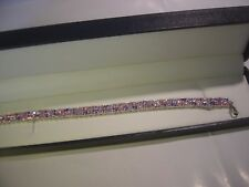 "SOLID SILVER-STUNNING BRACELET-& AMAZING PINKS & PURPLES CUBIC 7.5"" BEST QUALITY"