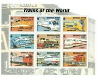 Mongolia - Trains Of The World - Railroad - Sheet Of 9 Stamps - MNH