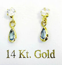 14KT GOLD CHILDREN EARRINGS WITH BLUE ZIRCON AND DIAMOND CREATED STONES