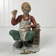 Old Man Jeweler Watch Maker Bisque Pottery figurine