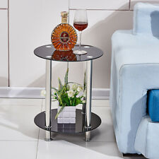 2 Tier Round Coffee Table Glass Top Sofa Side End Table Home Decor Furniture New
