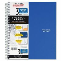"""Mead 06210 Notebook, 3-Subject/4-Pocket, 150 Shts, 11""""x8-1/2"""", blue"""