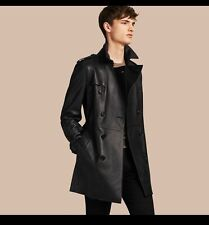 Burberry Authentic Mens Mid-length Lambskin Trench Coat Size 38us Color Black