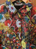 NWT Alice + Olivia Willa Floral Melody Metallic Top Blouse $375 Size XS  Silk