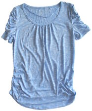 Style & Co Size XS Ruched Sides and Sleeves Scoop Neck Top Blue Skycap