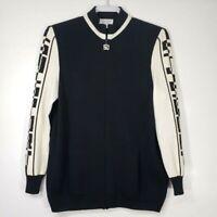St. John Sport Women's Sweater P 2 Black Knit Full Zip Long Sleeve Wool Blend