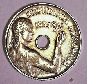 SPANISH COIN II REPUBLIC, 25 CENTIMOS 1934, EXCELNT CONDITIONS