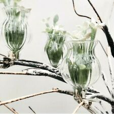 Set of 3 Mini Clip On Bud Vases Ribbed Glass Flower Wedding Wishing Tree Decor