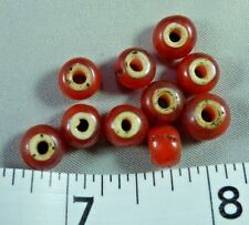 (10) Red White Heart Trade Beads Hudson's Bay Company Venetians 150+ Years Old