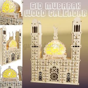 Wooden MDF Eid Mubarak Ramadan Calendar Sign Tray Decoration Muslim Islamic Gift
