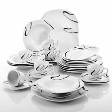 VEWEET Kayla 30-PCS Black Lines Porcelain Dinner Set Soup Side Plate Coffee Sets