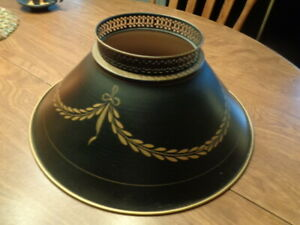 """Vintage Black Metal Tole Lamp SHADE 5.5"""" Top Opening,14"""" Bottom , 5.5"""" Tall"""