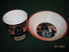 """Star Wars Cup and Bowl Set """"Darth Vader"""" (Nib) General Mills w/Original Material"""