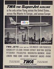 TWA TRANS WORLD BOEING 707 THE SUPERJET AIRLINE SERVING DETROIT-MIAMI-BOSTON AD