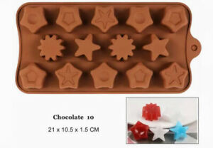 14-Cavity Star Chocolate shaped Mould Baking Cookies Silicone Mold