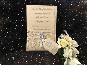VINTAGE RUSTIC ELEGANT IVORY / CREAM PEARLISED CARD LASER CUT WEDDING INVITATION