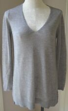 Eileen Fisher Silver Grey Rib Wool Crepe V-Neck Tunic Sweater Small NWOT $278.00