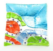 Murano Glas Schale Aschenbecher eckig Millefiori Murrinen Silberfolie multicolor