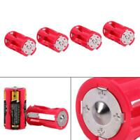 4pcs AAA to C Size Battery Convertor Case Adapter Holder Switcher Box Cell Red