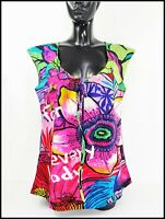 DESIGUAL #41B2369 Women's Cap Sleeve Scoop Neck NOAHI Floral Top Shirt Blouse L