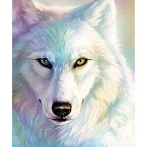 5D Full Drill Diamond Painting Rhinestone White Wolf Head Kits Art for Child