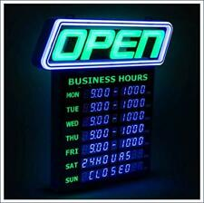 Gli Led Open Sign With Business Hours Stand Out With 1000s Color Combos To